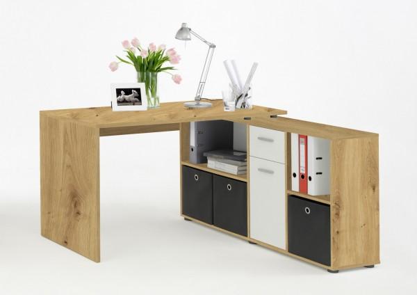 """Winkelkombination """"Janette"""" Artisan Eiche/Weiß, Schreibtischkombination, Schreibtisch, Arbeitszimmer"""