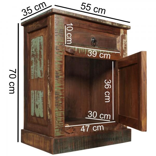 """Nachttisch """"Zuna"""" Massivholz Mango braun 70x55x35cm Nachtkonsole Nachtschrank"""