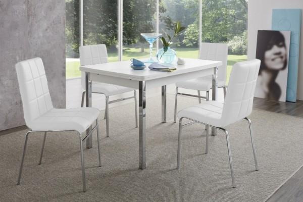 """Tischgruppe Set """"Morgan Island I"""" 4 Stühle weiss/ Tisch weiss Esstisch-Set Küchentisch"""