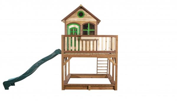 """Holzspielhaus """"Vinny"""" mit Veranda + Rutsche + Leiter + Sandkasten 255x377x291cm aus Zedernholz in braun"""