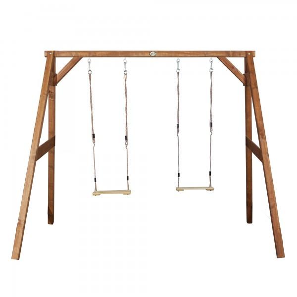 "Doppelschaukel ""Ewan"" Multi Spass Hemlock-Holz braun 160x254x207cm"