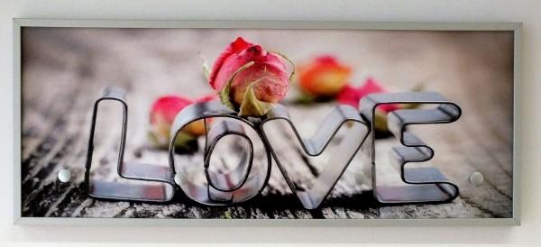 "Garderobe ""LovelyLove"", Hakenleiste, Garderobenleiste, Kleiderhaken, silber, 25x63x5 cm"
