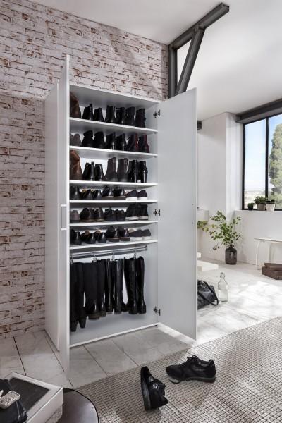"""Stiefel-/Schuhschrank """"Lukas 2"""", weiß, 2 Türen, 6 Fächer, 80 x 178 x 39 cm"""