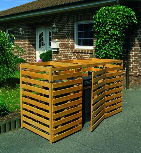 """Mülltonnenbox """"Giovanni"""", 214x92x120cm, honigbraun, Kiefer, ohne Decke, Mülltonnenverdeck, Garten"""