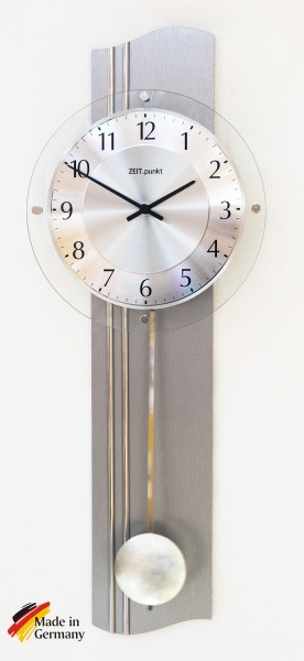 "Funkpendeluhr ""Tim"", Aluminium geschliffen, diamantgedrehtes Ziffernblatt, 60x23x7 cm, silber"