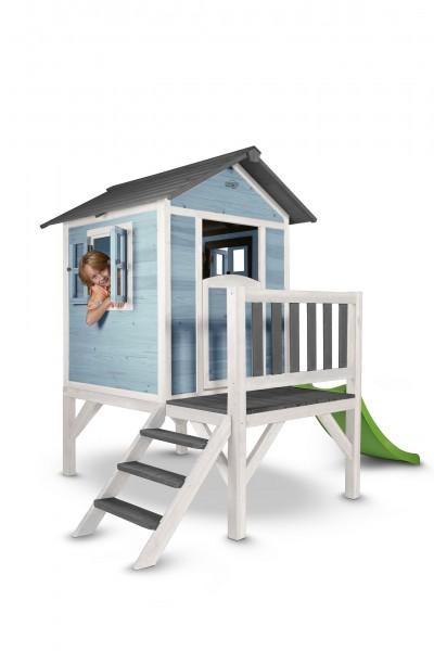 """Holzspielhaus """"Sun XL"""" mit Leiter + Rutsche 168x261x189cm aus Zedernholz in blau-weiß"""