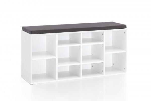 """Schuhbank """"Tommy"""", mit Sitzbank, weiß, 10 Fächer, 103,5 x 51,5 x 30 cm"""