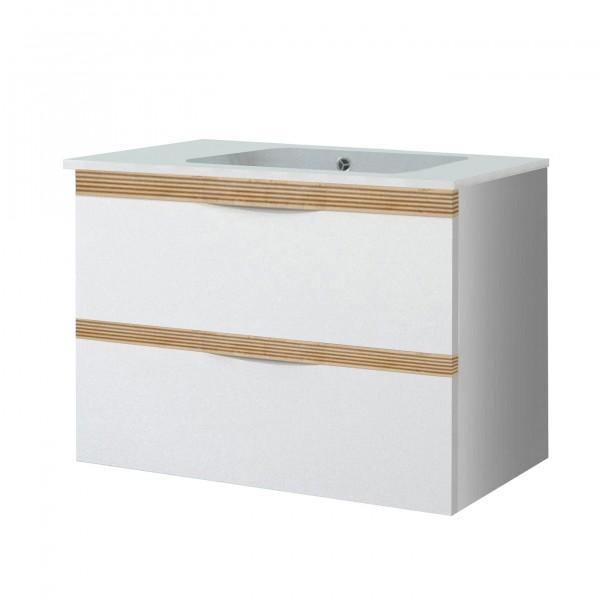"""Waschbeckenunterschrank """"Sola"""" weiß Hochglanz 80,4x60,2x44,3cm (B/H/T) Unterschrank"""