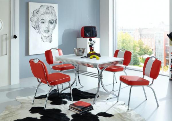 "Tischgruppe Set ""Kiawah"" Diner Set rot/weiss Vierfusstisch 4xStuhl Küchenset Essgruppe"