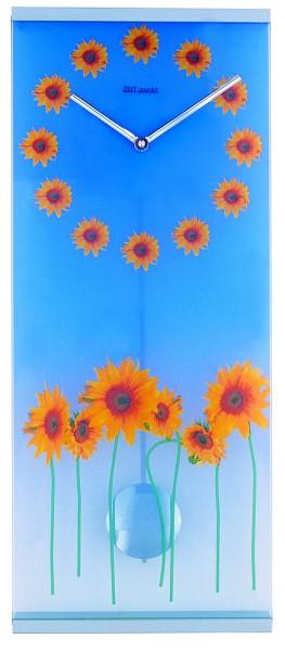 """Wanduhr Pendeluhr """"Sunflowers"""" Glas, Küche, Wohnzimmer, Diele/Flur, 58x24 cm, in Blau"""