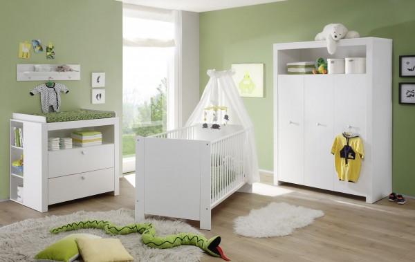 "Babyzimmerkombination IV ""Schatzi"", Weiss 5-teilig Bett Schrank Wickelkommode Wickelplatte 2 Regale"