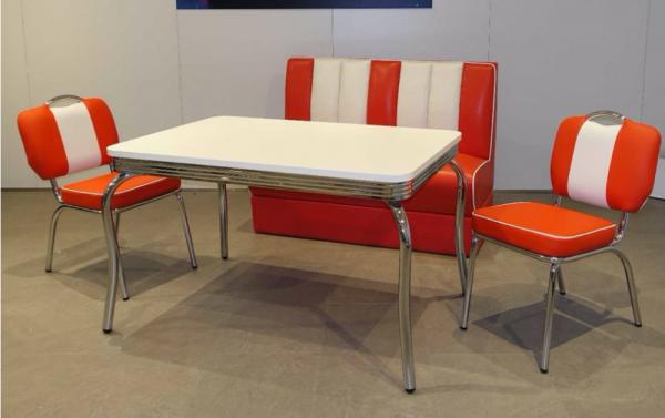 """Tischgruppe Set """"Myst"""" Diner Set rot/weiss mit Bistrotisch 2xStuhl Polsterbank Essgruppe"""