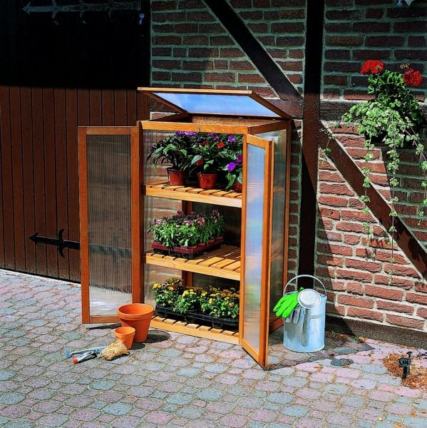 """Anzuchtschrank für Pflanzen """"Mara"""", Kiefer, honigbraun, 70 x 50 x 120 cm, Treibhaus, Garten"""