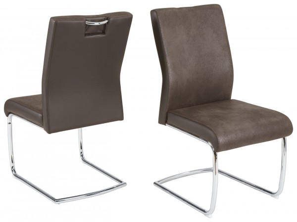 """2er Set Stuhl """"Henry II"""" dunkelbraun Kunstleder Microfaser 49x59x98cm Esszimmerstuhl"""