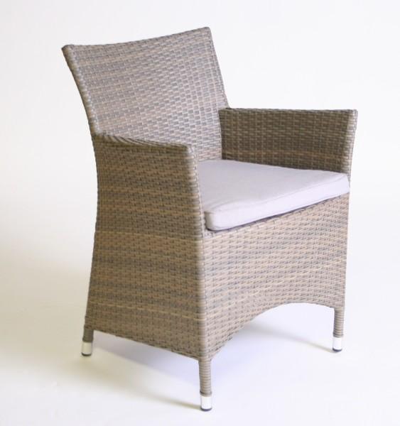 """Sessel """"Throne"""", beige-grau, 62 x 62 x 85 cm, mit Sitzpolster, Gartenstuhl, Stuhl, Balkon, Garten"""