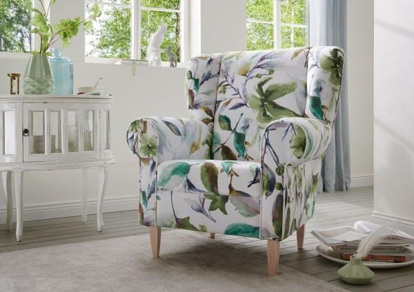 "Sessel ""Cathy"" Blumenmuster weiß grün 80 x 102 x 86 cm (B/H/T) 100% Polyester Holzbeine"