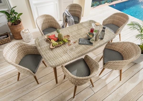 """Essgruppe 7er-Set """"Nancy"""", natur, 6 Sessel, 1 Tisch, inkl. Polster grau, Gartenessgruppe, Garten"""