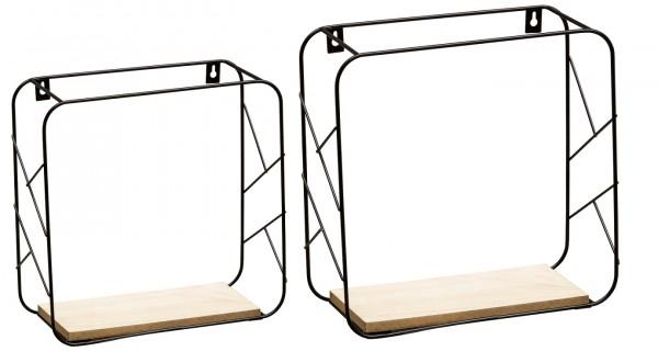 "51172204 Metallregal-Set ELDE Wandregal-Set, ""Frauke"" - schwarz/Holz, 20x20 / 25x25 cm, Tiefe 12 cm, Metallregal Regal"