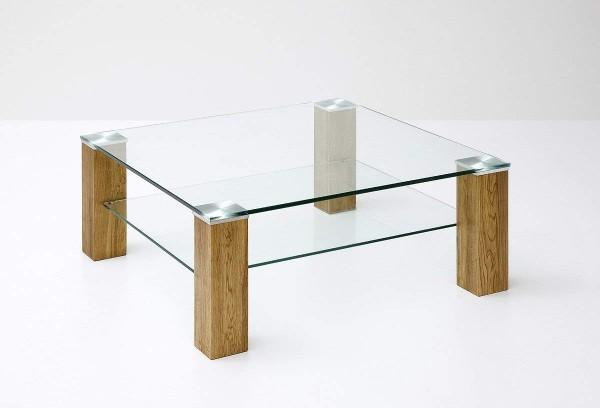 """Couchtisch """"Jasny"""" - Glastisch Klarglas m. Ablagefach Massivholz Asteiche 90x40x90 cm Tisch"""