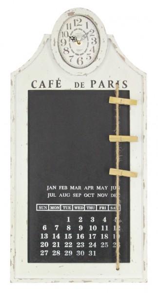 """Wanduhr """"Diary"""" aus Holz 60x30x5cm, mit Kalender in Weiß"""