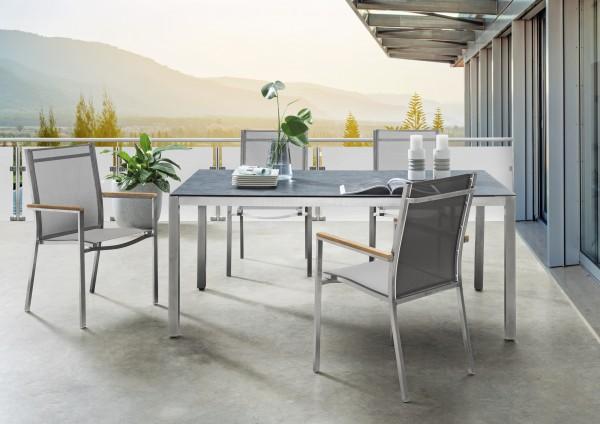 """Tisch """"Regine"""", Edelstahl/Glaskeramik, 180 x 100 x 73 cm, Gartentisch, Esstisch, Balkontisch, Garten"""
