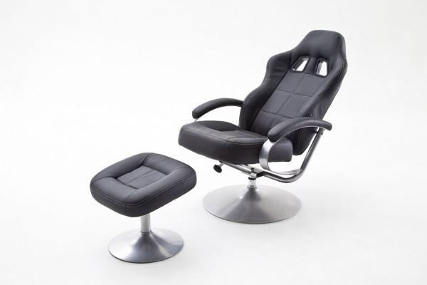"""Relax Sessel Racer """"Rebild"""" - Wohnzimmersessel mit Hocker Schwarz PU Metall Silber bis 110 kg"""