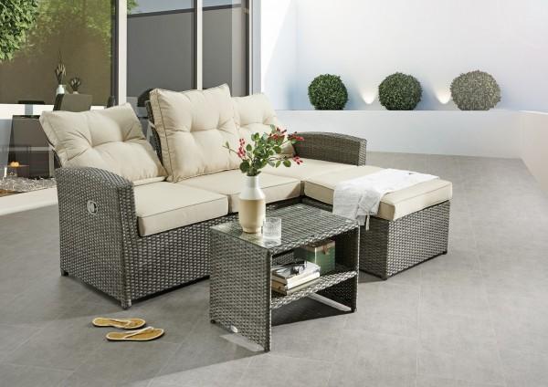 "Loungemöbelset ""Ines"", grau, 2er-Set, inkl. Polster beige, Sofa, Tisch, Gartenmöbel, Garten, Balkon"