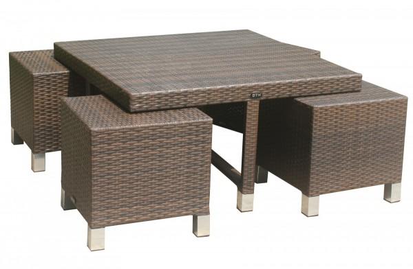 """Tisch Set """"Mirabelle"""" Gartentisch unterschiebare Hocker Aluminium Rattan mokka"""