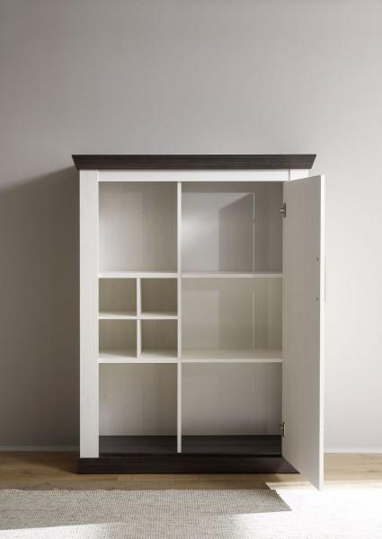 """Kommode mit Tür und Flascheneinteilung """"Lyon"""" - in Pinie weiß Nachbildung, Wengenachbildung in 105x146x37 cm"""