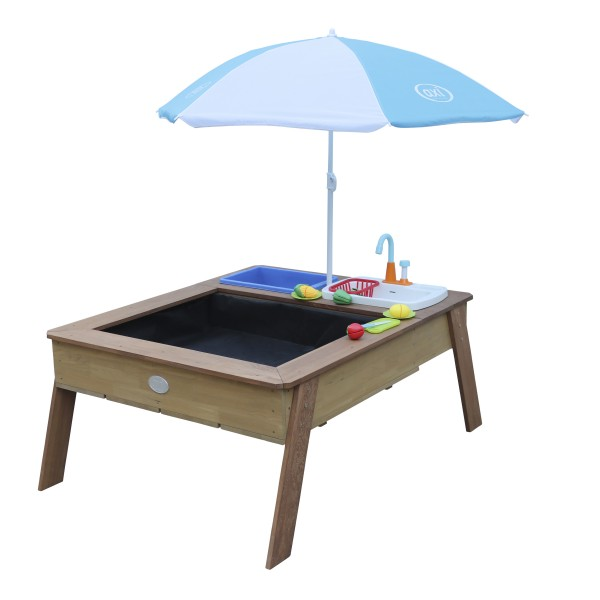 """Wasserspieltisch """"Sarah"""" blau braun Holz 100 x 94 x 50 cm mit Kinderspielküche und Sonnenschirm"""