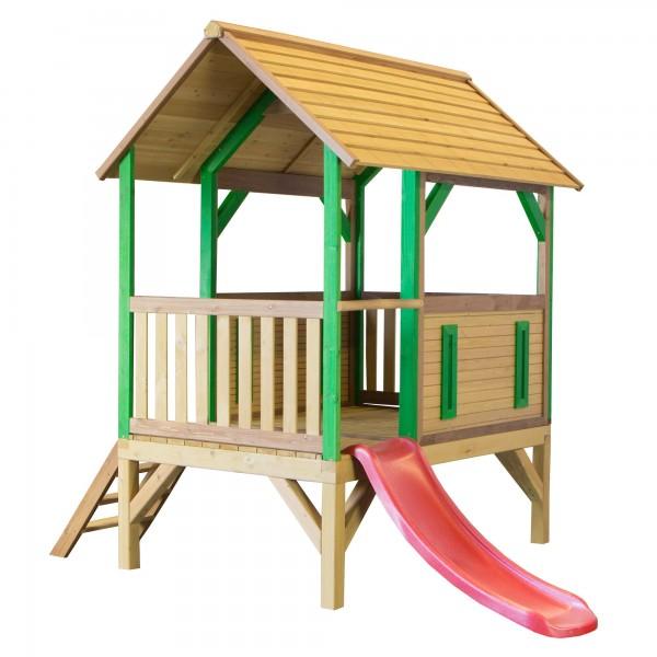 """Holzspielhaus """"Tyron"""" mit Veranda + Leiter + Rutsche 172x287x231cm aus Zedernholz in braun"""