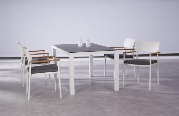 """Gartengruppe """"Finn"""" 9-tlg. weissTisch 160x90cm 4xStapelsessel inkl. Sitzkissen Sitzgruppe Garten"""