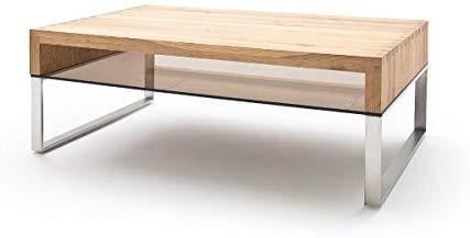 """Couchtisch """"Mali"""" - Tisch Glastisch Eiche massiv Metall Edelstahl 110x39x70cm Kaffeetisch"""