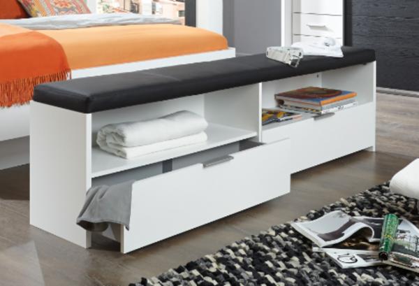 """Bettbank """"Imba"""" in zwei Farbdesigns, Schwarzeiche oder Alpinweiß, 185x48x33 cm, weiß"""