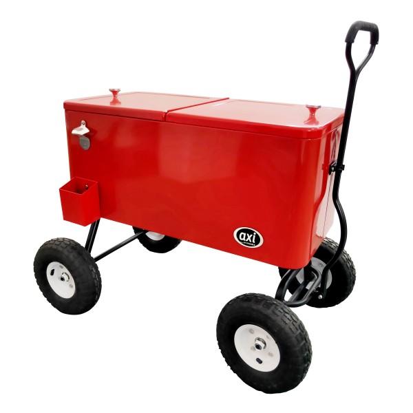 """Kühlbox """"Pit"""" rot knallig auf Rollen 82 x 48 x 82 cm Bollerwagen Getränkekühlbox"""