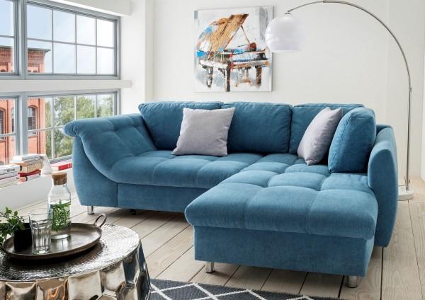 """Ecksofa """"Camille"""" blau 250 x 190 x 84 cm (B/H/T) Wellenunterfederung inkl. Zierkissen Sofa"""