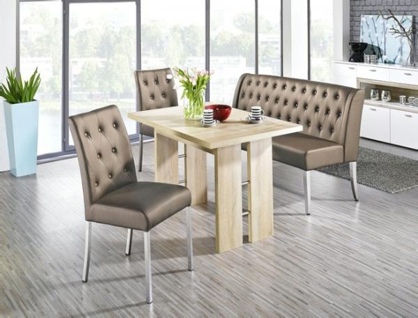 "Essgruppe ""Ohio II"" Säulentisch Artisan Oak Struktur 1x Polsterbank 2x Stuhl Lederimitat Cappuccino"