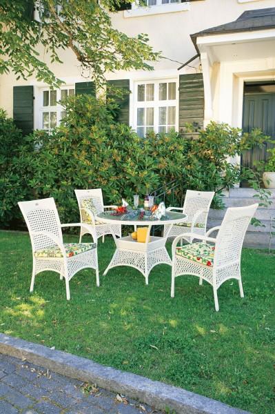 "Gartengruppe ""Kai"" 9-tlg. weiss/grau Tisch rund 4xKorbsessel inkl. Sitzkissen Sitzgruppe Garten"