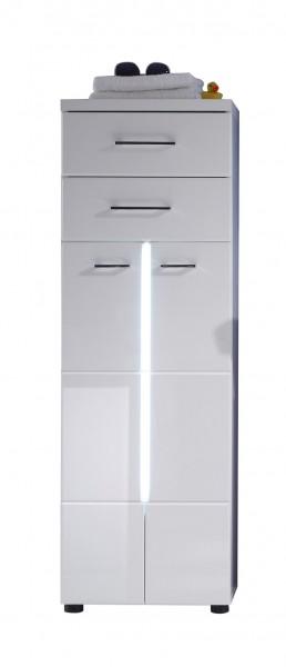 """Midischrank """"Vivien"""", 43 x 128 x 31 cm, weiß/weiß HG, Badezimmerschrank, mit Beleuchtung, Badezimmer"""