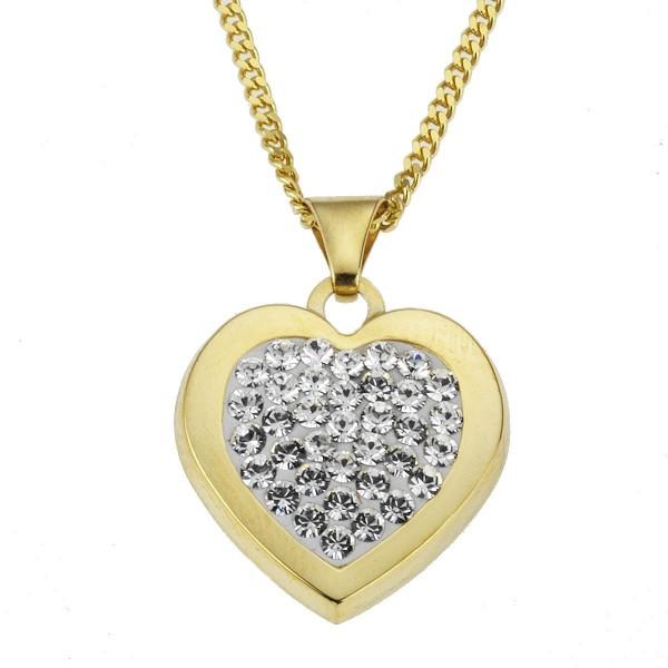 Crystelle - Anhänger/Kette 45/42cm, Herz mit Swarovski Kristallen weiss