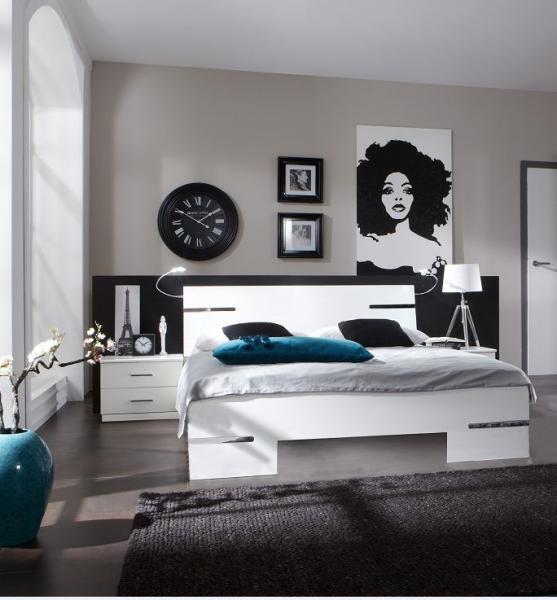 """Schlafzimmer Set """"Flink"""", Doppelbett und Nachttische-Set, Alpinweiß"""