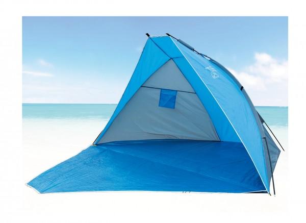 "Strandmuschel ""Sola IV"" 270x120x120cm blau faltbar Polyester Sonnenschutz UV 80+"