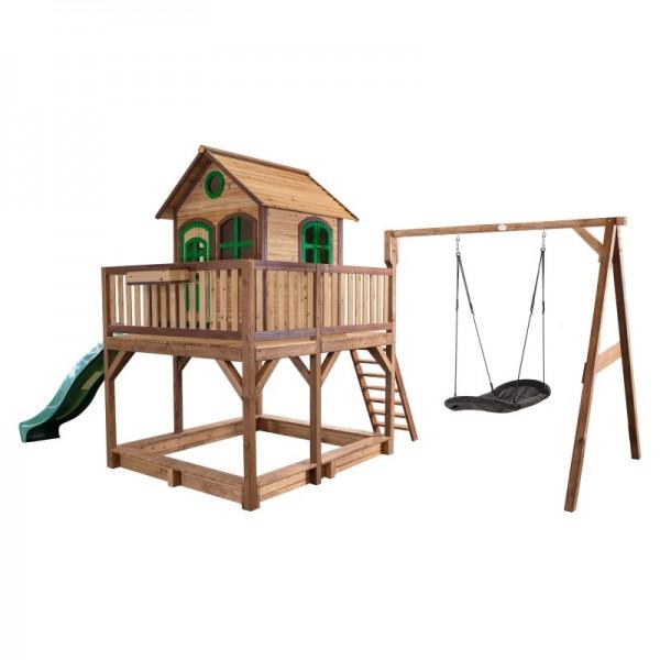 """Holzspielhaus """"Leon VIII"""" 277x613x291cm, braun-grün, Rutsche grün+Sandkasten+Nestschaukel"""