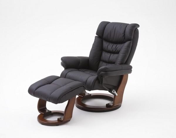 """Relax Sessel  Komfort """"Tonder"""" - Wohnzimmersessel mit Hocker Schwarz verstellbar Leder bis 130 kg"""