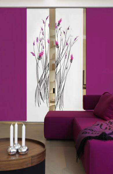 Emotion Textiles Flächenvorhang Schiebevorhang Little Inkflower Orchidee  Weiß Beere 2er