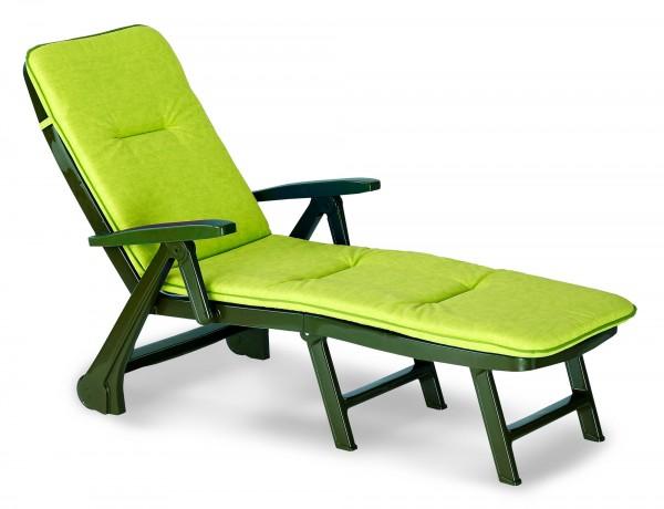 """Rollliege """"Phil"""" inkl. Polsterauflage 72x189x97cm Kunststoff grün Gartenliege Gartenmöbel"""