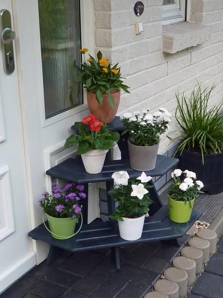 "Blumentreppe ""Willow I"" Eckelement Kiefernholz anthrazit 87x59x62cm Blumendekoration Gartendeko"