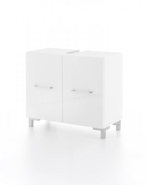 """Waschtischunterschrank """"Toni"""", weiß/weiß Hochglanz, 2 Türen, 65x59,5x31,5cm"""