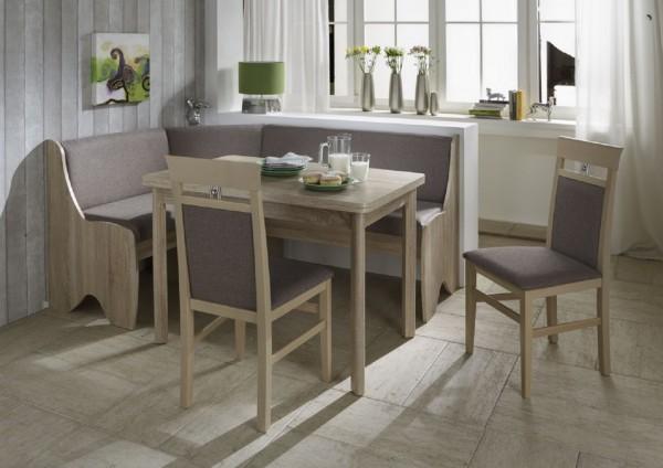 """Eckbankgruppe """"Saphir"""" Eckbank Tisch 2 Stühle Sonoma Eiche Dekor, 4-teilig"""