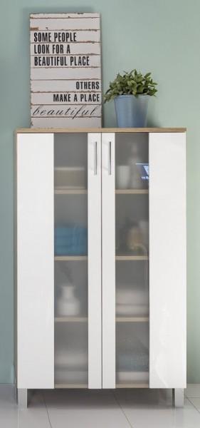 """Midischrank """"Ines"""", Eiche sägerau/weiß Melamin, Badezimmerschrank, 65 x 110 x 31 cm"""